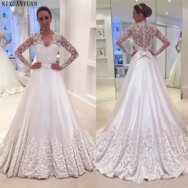 Long Sleeve Vintage Lace Wedding Dresses 2019 V Neck With Bow A Line Elegant Winter Vestido De Novia Charming Bridal Gowns