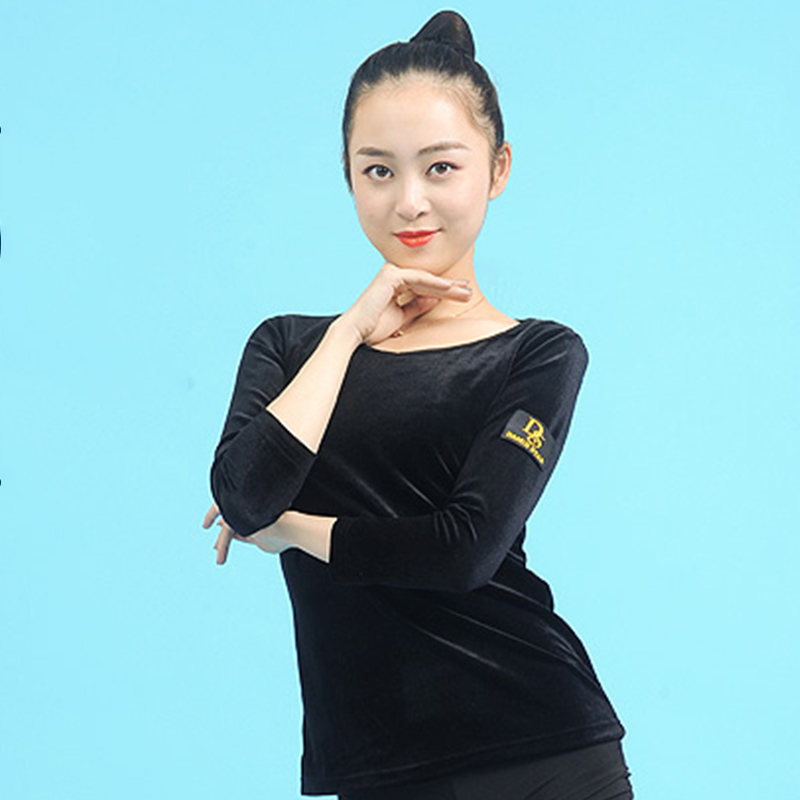 Latin Dance Top Black Tango Salsa Cha-Cha Rumba Samba Velvet  Performing Tops Women Round Neck Ballroom Training Wear DNV10511