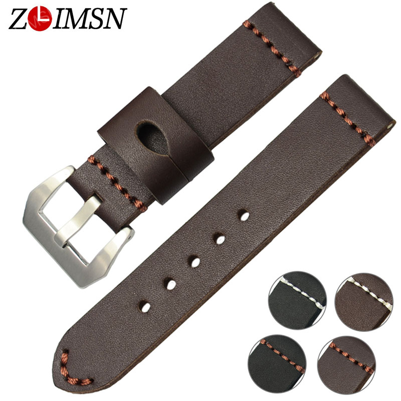 ZLIMSN Thick Genuine Leather Watch Band 22mm 24mm Watch Belt Silver Clasp Stainless Steel Buckle Replacement