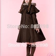 Лидер продаж, японское недорогое коричневое шерстяное пальто с капюшоном в стиле Лолиты, зимнее пальто для девочек, Брендовое длинное зимнее пальто, костюм