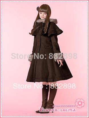 Hot Sale Japan Cheap Custom made Brown Wool Hooded Sweet Lolita Coat Girls Winter Coats Brand Long Winter Coat Costume цена