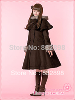 Hot Sale Japan Cheap Custom made Brown Wool Hooded Sweet Lolita Coat Girls Winter Coats Brand Long Winter Coat Costume