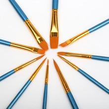 BGLN 10Pcs/Set Watercolor Gouache Paint Brushes Different Shape Round Pointed Tip Nylon Hair Painting Brush Set Art Supplies