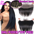 7A Virgin Brazilian Straight Lace Frontal Closure Bleached Knots Human Hair Free Middle 3 Part Lace Frontal 13x4 From Ear To Ear