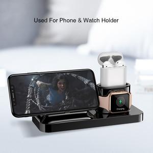Image 4 - RAXFLY 3 in 1 Telefon şarj tutucu iPhone X XS Max XR 8 7 Kablosuz Manyetik şarj standı Istasyonu Için Apple izle 4 Earpods