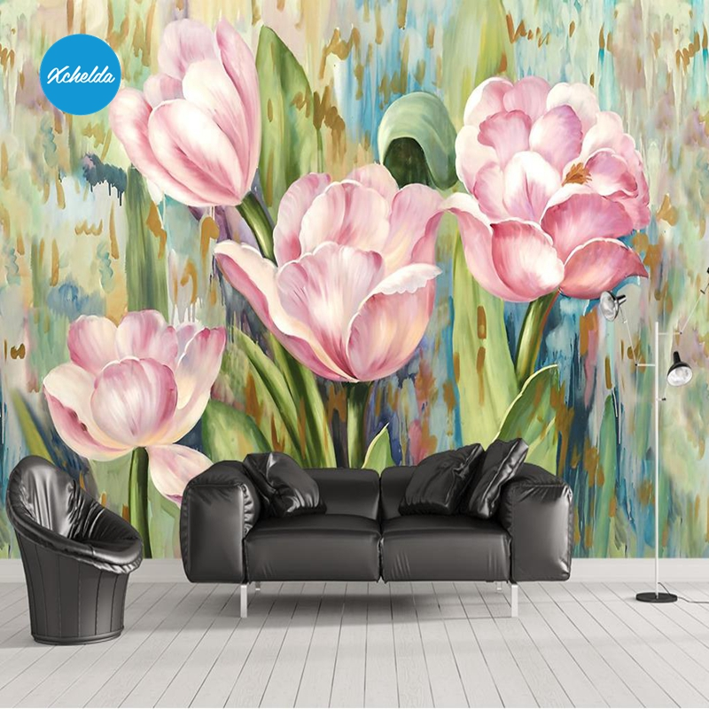 XCHELDA Custom 3D Wallpaper Design Oil Painting Tulips Photo Kitchen Bedroom Living Room Wall Murals Papel De Parede custom 3d wall murals wallpaper luxury silk diamond home decoration wall art mural painting living room bedroom papel de parede