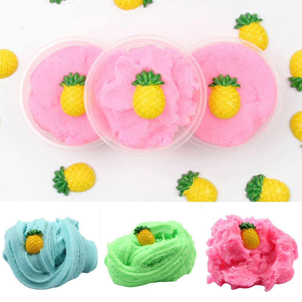 High quality 60ML Mixing Cloud Slime Pineapple Putty Scented Stress Kids Crystal Clay Toy hot sale 2019 W507