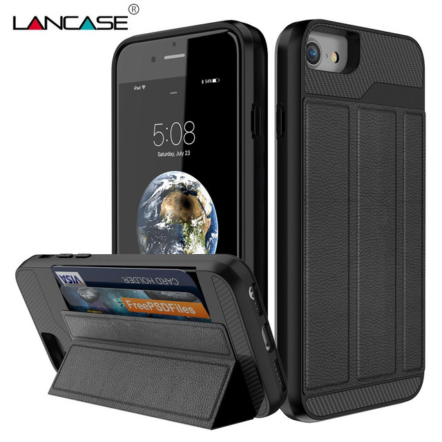 best website 4c09d e7fe3 US $7.99 30% OFF|LANCASE For iPhone 8 Case Luxury Stand Foldable Flip PU  Leather Card Holder TPU Hard Armor Cover For iPhone 8 Plus 7 7 Plus Case-in  ...