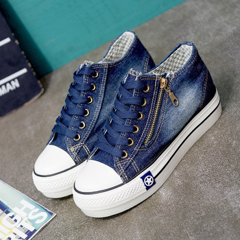 Ake Sia Classic Women Girl Fashion Casual Vintage Washed Denim Canvas Flat Platform Thicken Soled Lace-Up Plimsolls Shoes A155 5