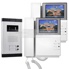 DIYSECUR 4.3″ Apartment Video Door Phone Video Intercom Doorbell System 700 TVLine IR Camera Touch Key for 2 Families