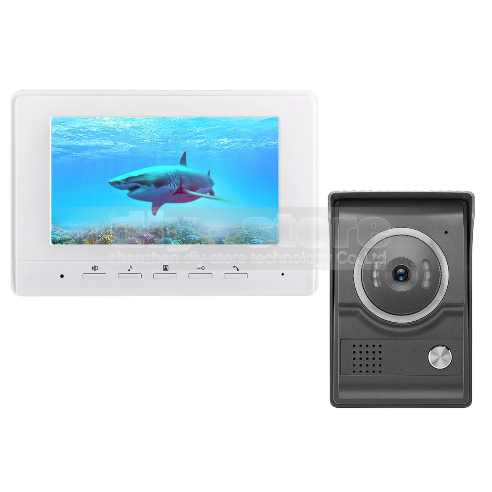DIYSECUR 7inch Video Intercom Video Door Phone 700TV Line IR Night Vision HD Camera for Home Office Factory White diysecur 7inch video door phone doorbell video intercom metal shell camera led night vision 1 monitor black for home office