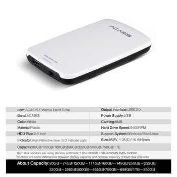 ACASIS Portable External Hard Drive Disk HDD 60GB 80GB 120GB 160GB 250G 320GB 500GB 1TB or PS4,Xbox,PC,Mac,laptops,desktops