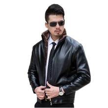 The new winter 2016 men leather thickening big yards Collar with velvet coat big yards
