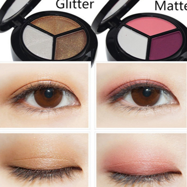 3 Colors Women Eye Shadow Palette Smokey Matte Shadow Palette Waterproof Glitter Eyeshadow Makeup Cosmetics Tools Eyeshadow 5