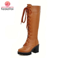 FizaiZifai Size 33 43 Women Knee Boots Cross Strap High Heel Boots Warm Shoes Women Long Botas Knight Boots Sexy Women Footwears