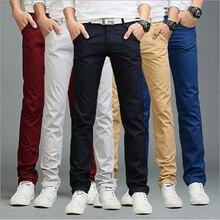 9 colors business casual style pants spring summer fashion men cotton slim straight casual pants multicolor men pants