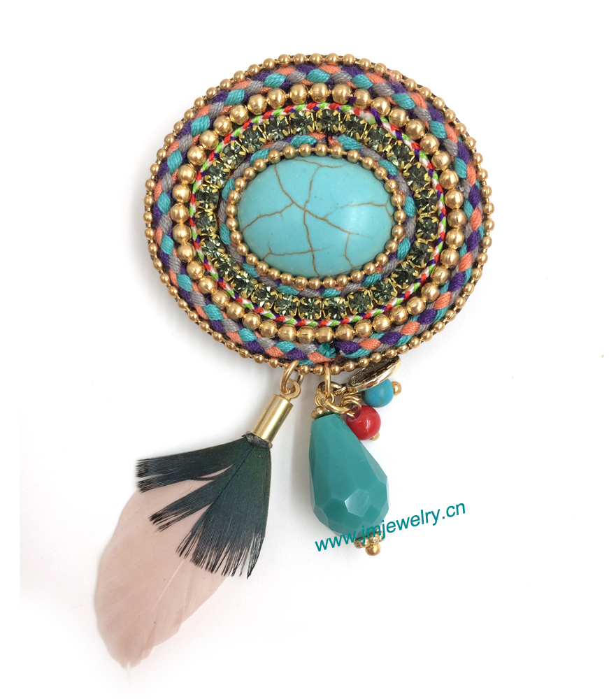 Wholesale Fashion  turquoise costume jewellery unique handmade brooches with crystal and tassel pendants for dress  jewellery