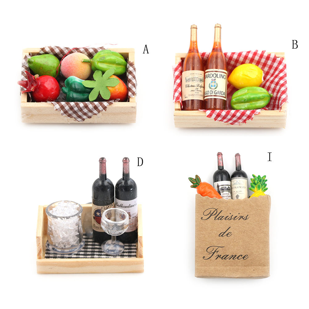 1:12 Doll House Mini Wine Bottles Fruit Box Candy Food Toy Match Collectible Gift Miniature Accessories