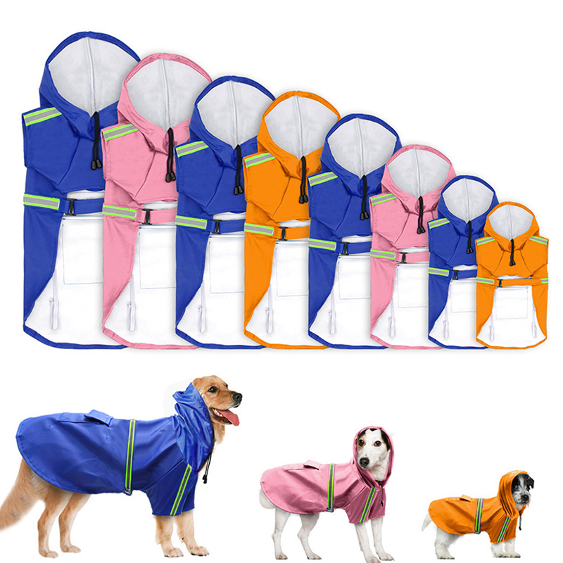 OWDBOB Waterproof Dog Raincoat With Hood Reflective Pet Rain Coat Cloak Clothes For Small Medium Large Dogs Pet Supplies