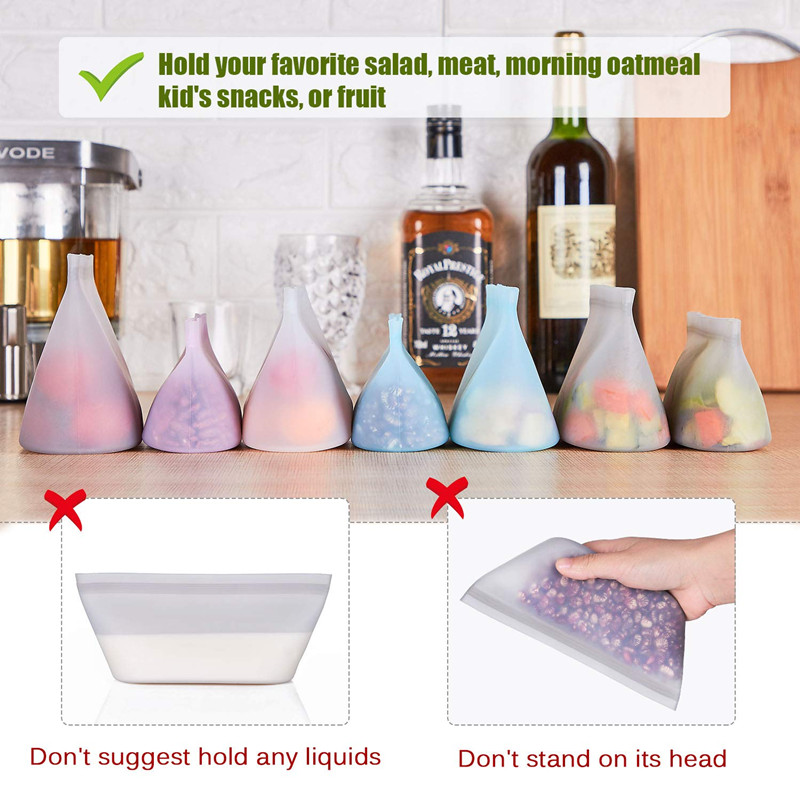 Image 4 - 3Pcs Silicone Food Storage Containers Zip Top Leakproof Fresh Bowls Reusable Stand Up Zips Shut Bags Fruit Vegetable Sealed Cups-in Saran Wrap & Plastic Bags from Home & Garden