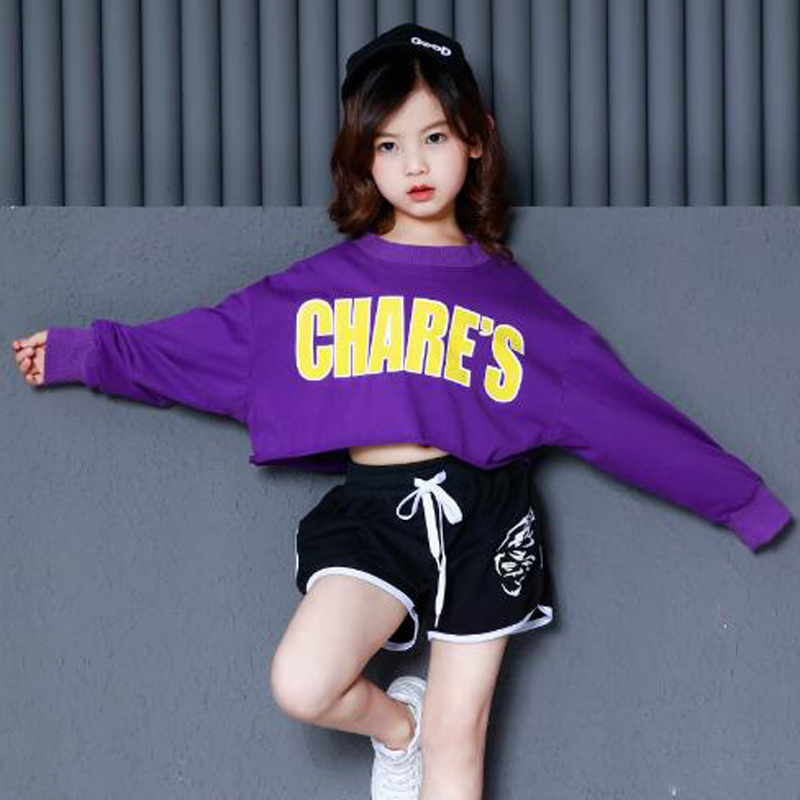 New Model children hip hop dance costumes teenage streetwear Girls Hip hop clothing Suit girls purple tops and black hot shorts
