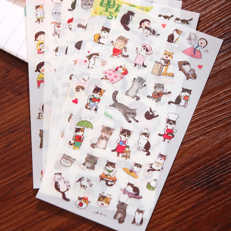 6Sheet/Pack Korean Cat Cartoon Animals Sticker PVC Stickers Diary Sticker Scrapbook Decoration PVC Stationery Stickers E2033
