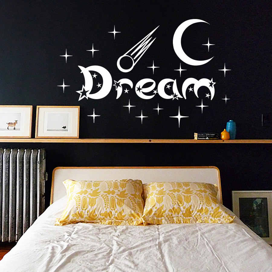 New Design Bedroom Wall Stickers Moon And Stars Home Decor Vinyl Removable White Dream Wall Decal