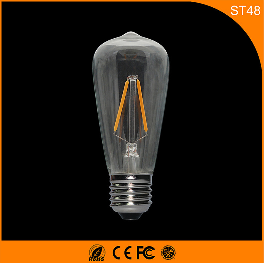 50PCS Retro Vintage Edison E27 B22 LED Bulb ,ST48 2W Led Filament Glass Light Lamp, Warm White Energy Saving Lamps Light AC220V retro lamp st64 vintage led edison e27 led bulb lamp 110 v 220 v 4 w filament glass lamp
