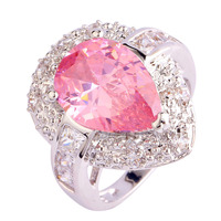 Exalted Women Rings Luxury Pink Topaz 925 Silver Ring Water-Drop Size 6 Wholesale Free Shipping For Women Jewelry