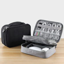 Multifunction Double Layer Electronics Accessories Storage Bag Digital Gadget Organizer Box for HDD USB Data Cable Adapter