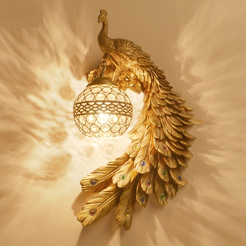 Peacock crystal wall lights living room bedroom bedside background channel staircase modern creative individual wall lights-za modern acrylic led wall lights bedroom bedside wall lamp lampara de pared bed room decoration lighting wall sconces
