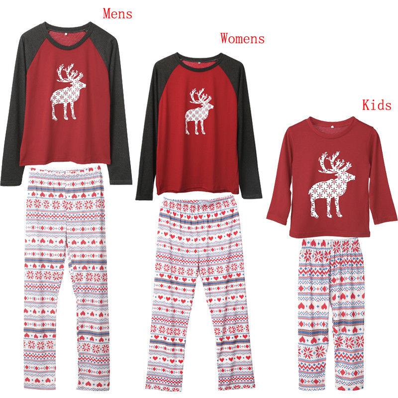 Year\\'S Costumes For Family Christmas Family Matching Pajamas Set Adult Kids Baby Moose Nightwear