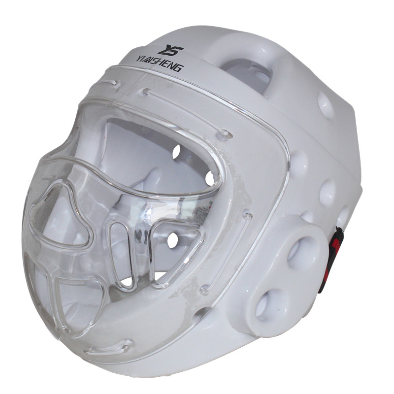 White Color Adult kids karate Helmet fitness taekwondo helmets WTF protector headgear with face mask full protective support mma kick boxing karate sparring gear martial arts headgear taekwondo full face shield helmet protector