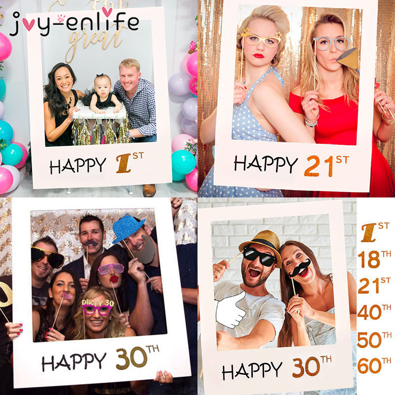 JOY-ENLIFE 30th 40th 50th 60th Photo Booth Frame Happy Birthday Photobooth Props Baby 1st Birthday Party Decoration Photo Booth