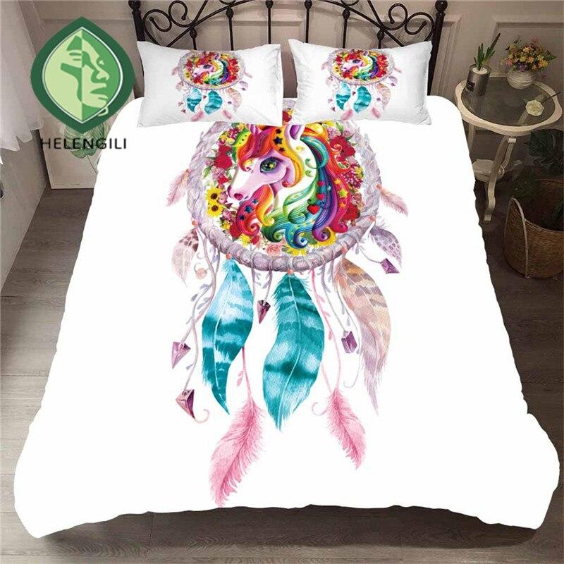 HELENGILI 3D Bedding Set Dreamcatcher Print Duvet Cover Lifelike Bedclothes with Pillowcase Bed Home Textiles #BWM-20