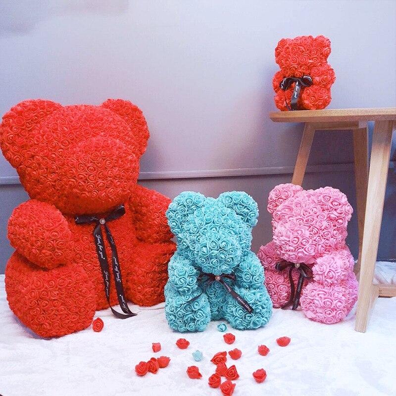 Mousse Ours Rose Fleurs Roses Artificielles Teddy Ours Boîtes Femmes Cadeau du jour de Valentine De Mariage Party Decor Fleurs 40/ 20 cm