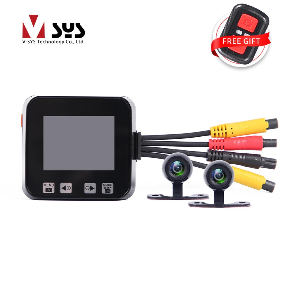 Vsys cheapest motorcycle camera C6 dual lens video recorder for driver dash cam esay install in motorbike or car loop recording