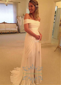 Fantastic Front Split Wedding Gowns Light Chiffon Criss Cross Bateau Bride Dress Large V shape Back Brush Train