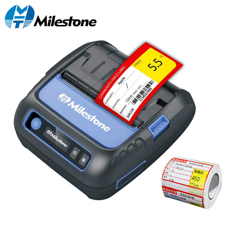 Milestone Thermal Printer Label Receipt 80mm Portabel Mini Mobile Printer Bluetooth Label Maker POS Android IOS MHT P80F-in Printers from Computer & Office    1