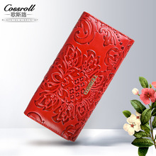 Embossing Flower Women Wallet Genuine Leather Female Purse Long Printing Floral Women Retro Leather Wallet Clutch