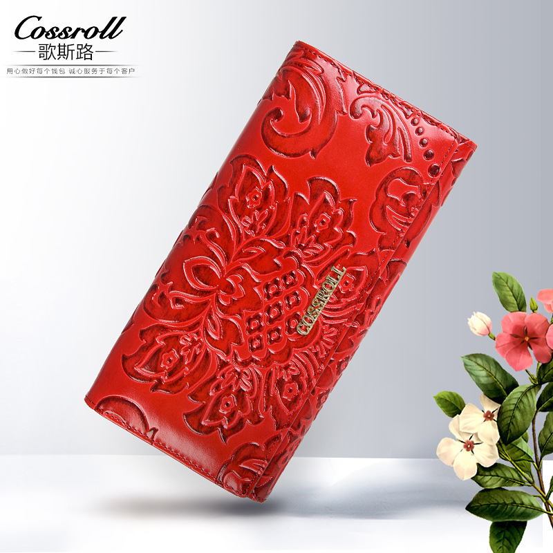 Embossing Flower font b Women b font font b Wallet b font Genuine Leather Female Purse