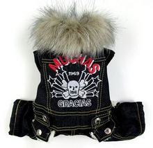Small Dog Clothes Dog Jumpsuit Dog Jacket Fleece Lined Jeans Faux Fur Collar Cat Costume Denim Puppy Clothes Skull Print