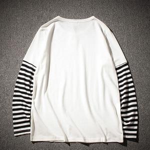 Image 4 - Hip Hop Long Sleeve T shirts Men O neck Striped Patchwork T Shirt Men Fashion Casual Comfortable T Shirts Men Spring Autumn