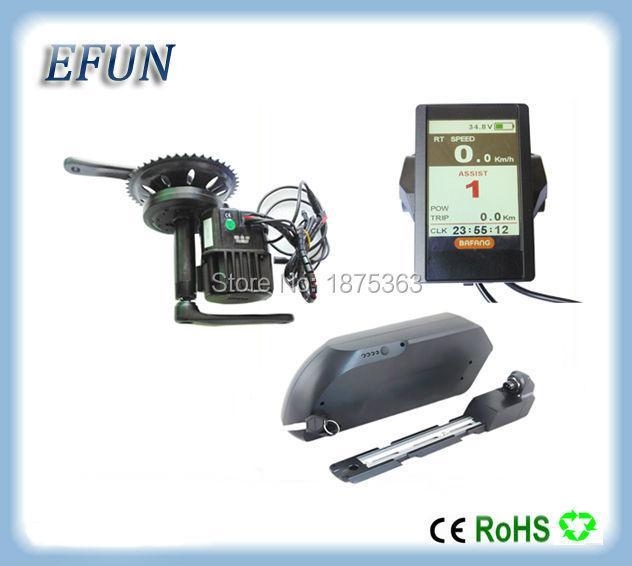 Color LCD display 8Fun/Bafang BBSHD/BBS03 mid drive motor kits with 48V 17.5Ah tiger shark down tube battery for fat tire bike