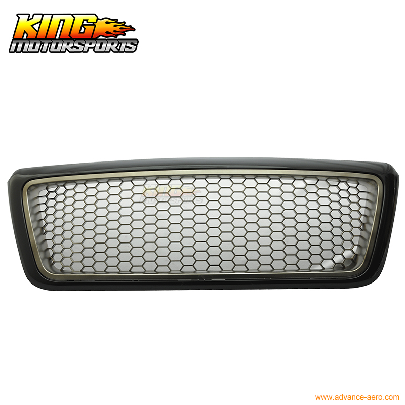 For 2004-2008 Ford F150 F-150 Black Chrome Mesh Front Hood Grille ABS Honeycomb USA Domestic Free Shipping Hot Selling for 07 09 toyota tundra chrome mesh grill grille brand new 2007 2008 2009 usa domestic free shipping hot selling
