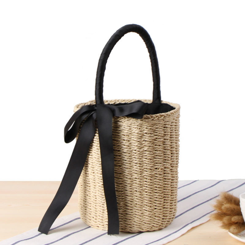 Women Bohemian Straw Bags Ladies Small Beach Weave Handbag Tote Handmade Summer Wicker Basket Ribbons Rattan Holiday Travel Ins handmade flower appliques straw woven bulk bags trendy summer styles beach travel tote bags women beatiful handbags