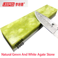 LEEPED 8000/10000 sharpening stone Natural Green And White Agate Stone Knife Sharpener