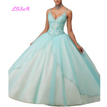 Spaghetti Straps Beaded Lace Ball Gown Quinceanera Dresses Sexy Deep V-Neck Tulle Prom Party Gowns 2019
