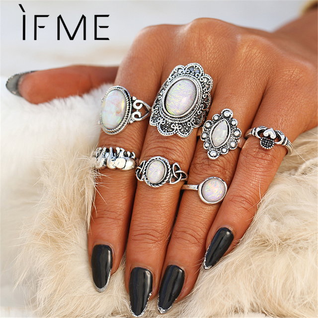 IF ME Vintage Ring Sets for Women Bohemian Silver Color Opal Stone Elephant Hear
