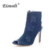 EISWELT 2017 Fashion sommerfrauen Damen Fisch Mund Zip Super High Heel Offenen Zehen Keil Denim Blau Sandalen Schuhe frauen # LQ152